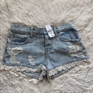 Carmar denim shorts with lace detailing